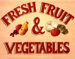 Fresh Fruits and Vegetables Sign